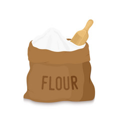 Canvas bag with white flour wooden scoop vector