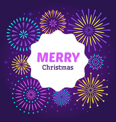 christmas firework poster merry xmas holiday 2019 vector image
