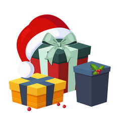 Christmas presents and hat winter vector