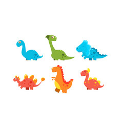 collection of cute cartoon dinosaurs funny vector image