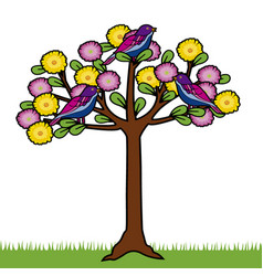 Colored tree with birds and flowers vector
