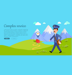 Complex service web banner with postman vector