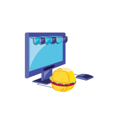 computer monitor with parasol store and hamburger vector image
