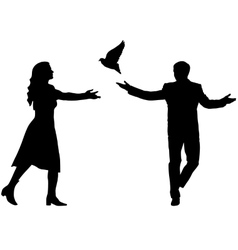 Concept of love or peace Silhouettes girl and guy vector image