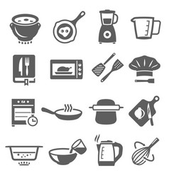 Cooking cookware bold black silhouette icons set vector