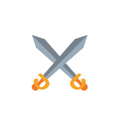 crossed swords antique medieval flat design vector image