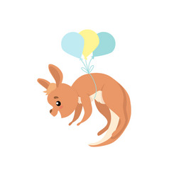 Cute baby kangaroo flying with balloons brown vector