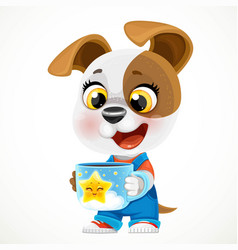 cute cartoon baby dog with cup hot tea vector image