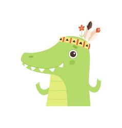 Cute crocodile animal wearing indian traditional vector