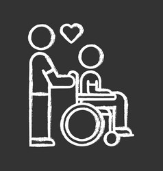 Disabled people help chalk icon volunteer vector