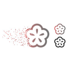 Dispersed pixel halftone flower icon vector