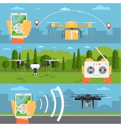 Drone technology concepts with flying robots vector image