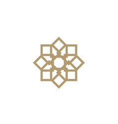 elegant golden ornament pattern square gold logo vector image