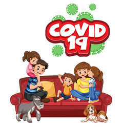 Family with covid19 sign vector