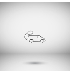 Flat paper cut style icon of an eco car vector image