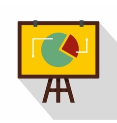 Flip chart with statistics icon flat style vector