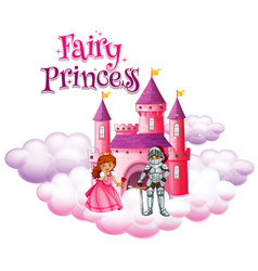 font design template for word fairy princess with vector image