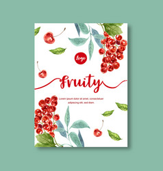 Fruits themed design with cherries in white vector
