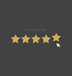 golden star rating mouse click icon vector image