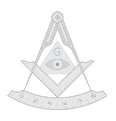 gray masonic square and compass symbol vector image
