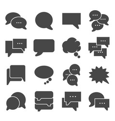 gray speech bubble icons on white background vector image