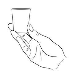 Hand holding a small glass on white background vector