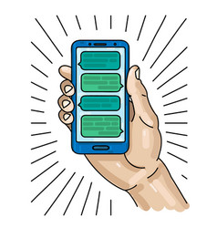 hand holding smart phone with messages on the vector image