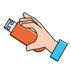 hand human with usb memory isolated icon vector image