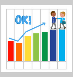 Happy managers with good bar chart vector