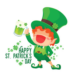 happy st patricks day leprechaun holding beer vector image