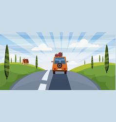Highway travel summer road car cute landscape vector