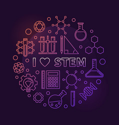 i love stem colored circular outline vector image