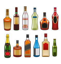 Icons alcohol drinks bottles vector