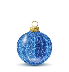Isolated blue christmas ball with glitter texture vector