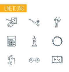 Lifestyle icons line style set with painting game vector