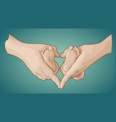 Line art sketch of baby feet in mother hands vector