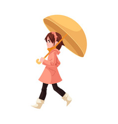 little kid girl under umbrella in coat and rubber vector image