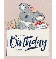 little koala with balloon vector image