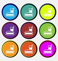 Lunch box icon sign Nine multi colored round vector
