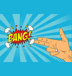 male hand with two fingers and speech bubble bang vector image