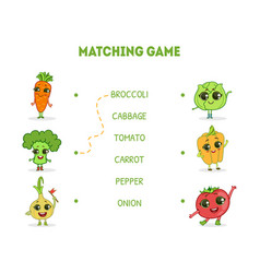 matching game with cute vegetables characters vector image