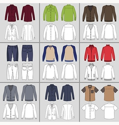 Mens clothing outlined template set vector