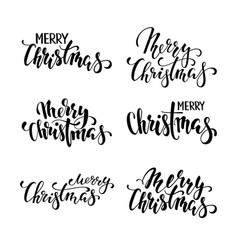 merry christmas hand drawn creative calligraphy vector image