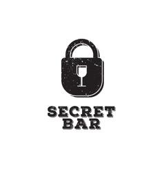 Minimalistic secret bar logo with little vector