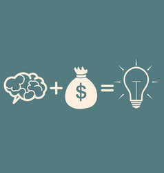 Motivation concept brain plus money idea vector