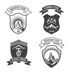 Mountains retro badges set vector image