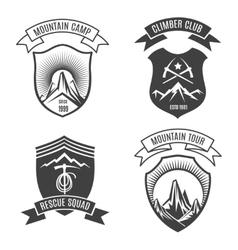 Mountains retro badges set vector