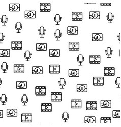 Movie production microphone timer seamless pattern vector
