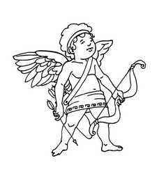 Mythical cupid babe with bow arrows and wings vector