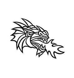 Mythical dragon breathing fire mascot vector